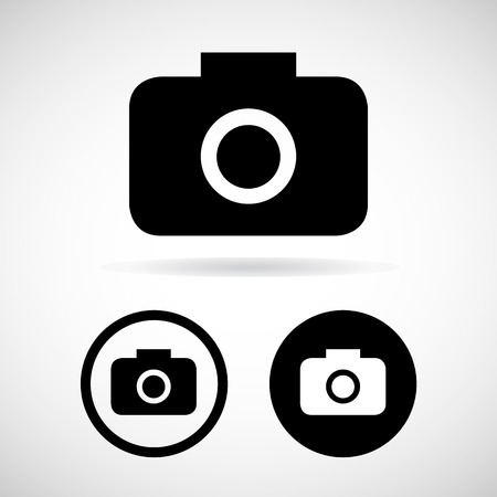 digicam: Photography icons on white background. Vector illustration.