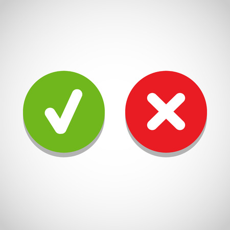 yes button: Vector right and wrong check mark