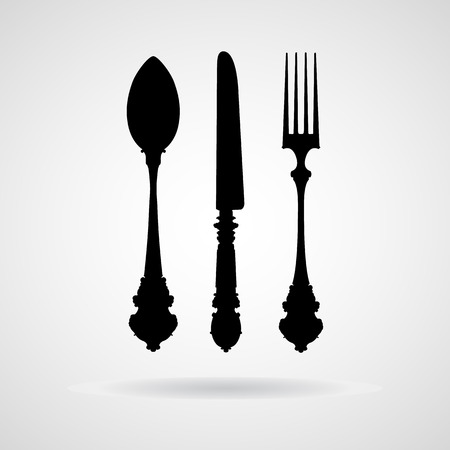 fork and spoon knife: Fork spoon knife vector and icon,