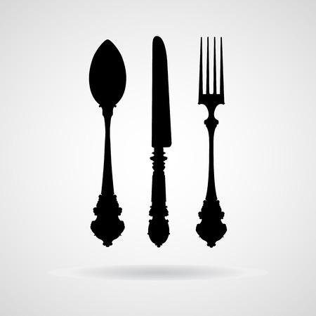 Gabel Löffel Messer und Vektor-Symbol,