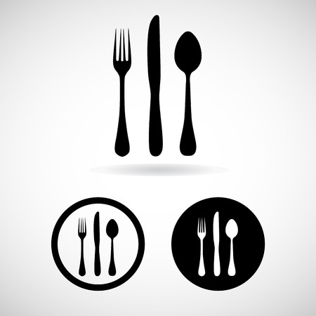 dinner party table: Fork spoon knife vector and icon,