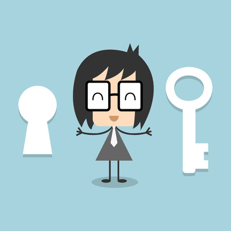 Businessman who offers solutions to other.Businessman with key, Flat design vector illustration Vector