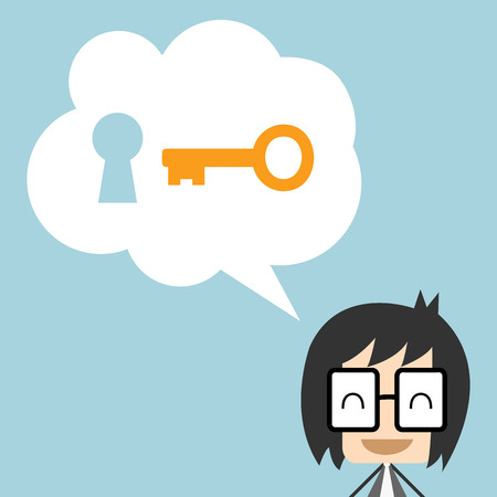 key: Businessman who offers solutions to other.Businessman with key, Flat design vector illustration