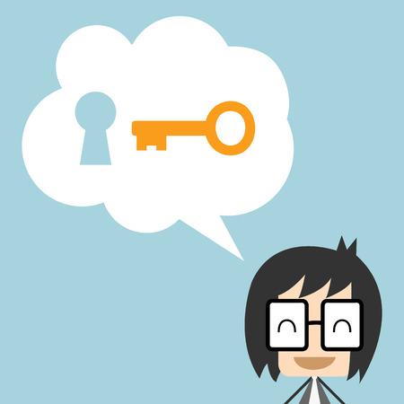 El hombre de negocios que ofrece soluciones a other.Businessman con llave, Diseño plano ilustración vectorial Foto de archivo - 38167843
