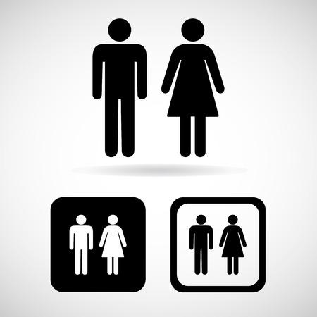 Een man en een vrouw toilet ondertekenen, vector illustratie Stock Illustratie