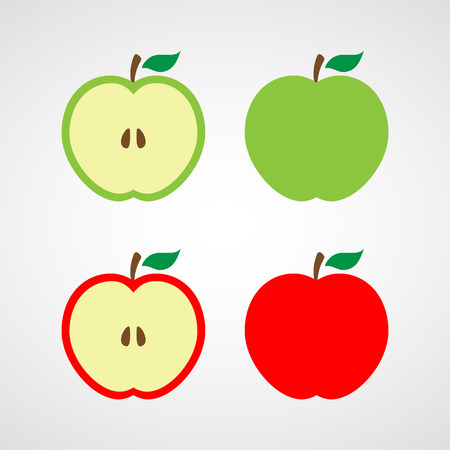 green and red: apple icon illustration