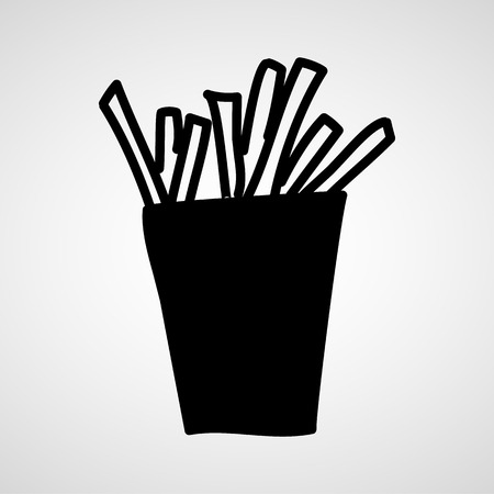 foodstuffs: Fast food vector icon. French fries potato in bucket Illustration