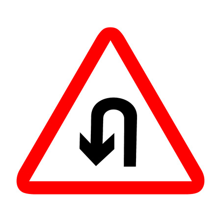 u turn: U-Turn Roadsign - road sign with turn symbol isolated, Vector illustration