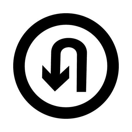 U-Turn Roadsign - Verkehrsschild mit wiederum Symbol isoliert, Vektor-Illustration