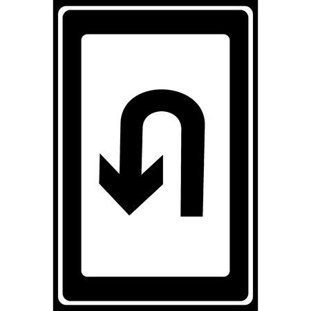 u turn: U-Turn Roadsign - road sign with turn symbol isolated, Vector illustration
