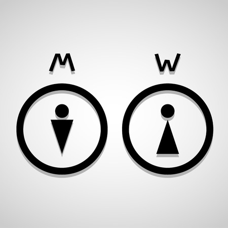 toilet sign: Man and lady toilet sign, Vector illustration