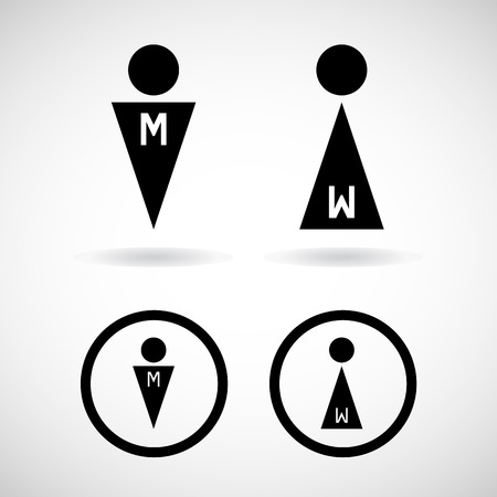 loo: Man and lady toilet sign, Vector illustration