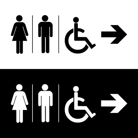handicap sign: Man and lady toilet sign Vector illustration