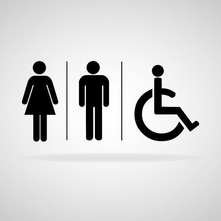 papel de baño: El hombre y la mujer WC signo ilustración vectorial