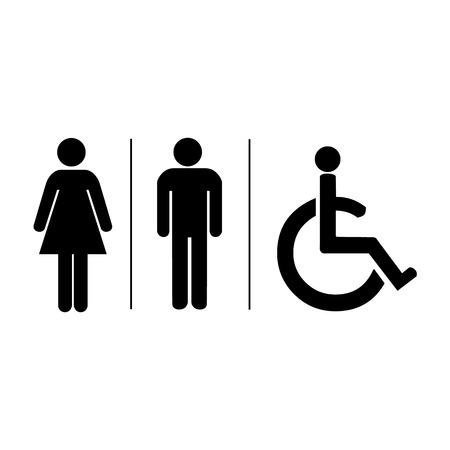 simbolo de la mujer: El hombre y la mujer WC signo ilustración vectorial