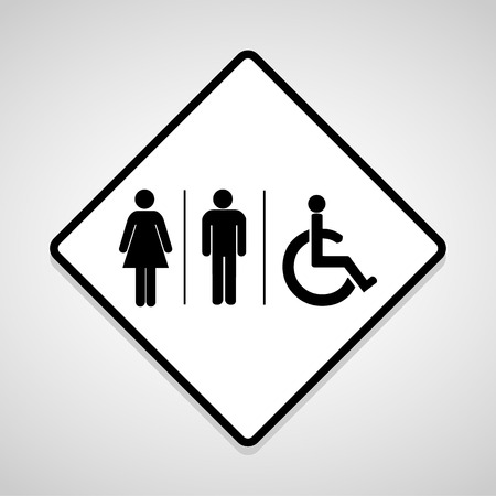 loo: Man and lady toilet sign Vector illustration