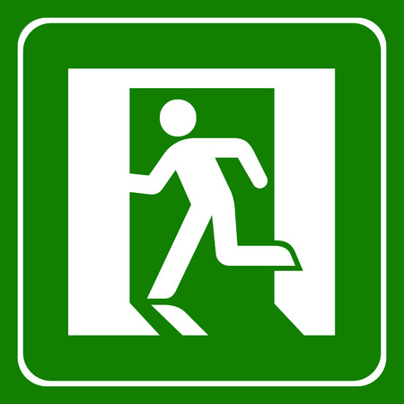 emergency exit label: Vector green emergency exit sign on white Illustration EPS10