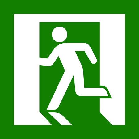 exit emergency sign: Vector green emergency exit sign on white Illustration EPS10
