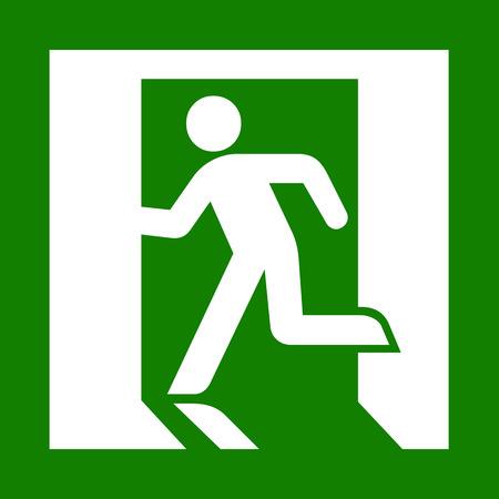 Vector groene nooduitgang teken op wit Illustratie EPS10