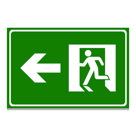 Vector green emergency exit sign on white Illustration EPS10