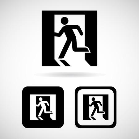 emergency exit: Vector emergency exit sign on white Illustration EPS10 Illustration