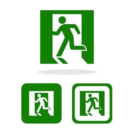 Vector green emergency exit sign on white Illustration EPS10 Vector