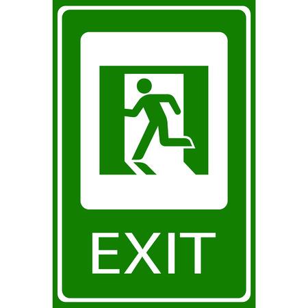 Vector grünen Notausgang-Zeichen auf weißem Illustration EPS10 Illustration