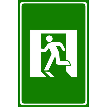 green exit emergency sign: Vector green emergency exit sign on white Illustration EPS10