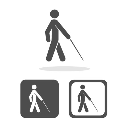 man standing alone: Vector blind symbol on white background  Illustration