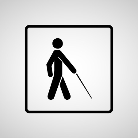 blind man: Vector blind symbol on white background  Illustration