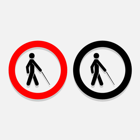 man standing alone: Vector blind symbol on white background  Illustration   Illustration