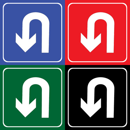 curve ahead sign: Vector UTurn Roadsign with turn symbol isolated on white background illustration EPS10 Illustration