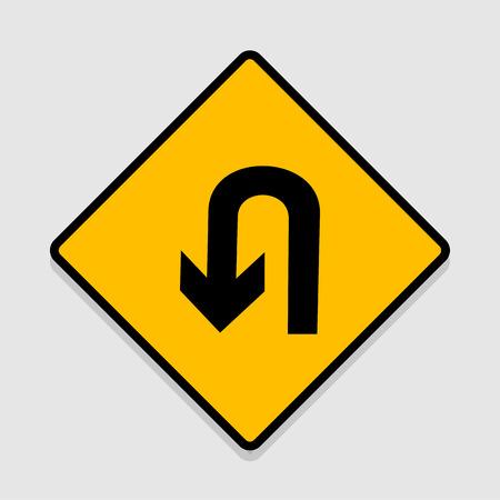 Vector UTurn Roadsign with turn symbol isolated on white background illustration EPS10 Illustration