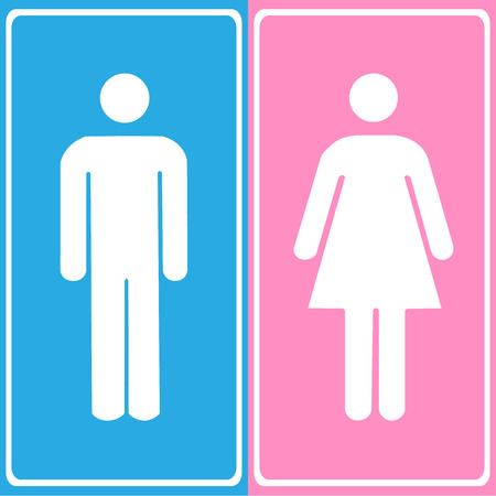 loo: Vector a man and a lady toilet sign Illustration