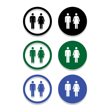 person silhouette: Vector a man and a lady toilet sign Illustration