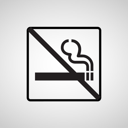 pernicious habit: Vector no smoking sign on gray background