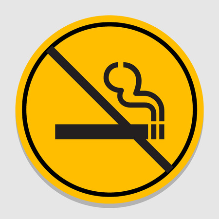 smoldering cigarette: Vector no smoking sign on gray background