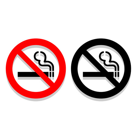 pernicious habit: Vector no smoking sign on white background   Illustration