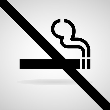 cigar shape: Vector no smoking sign on gray background