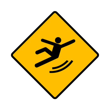 slippery floor: Vector Wet Floor Warning Sign Illustration