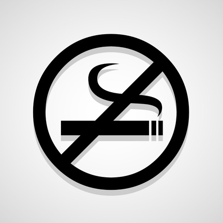 pernicious habit: Vector no smoking sign, Illustration
