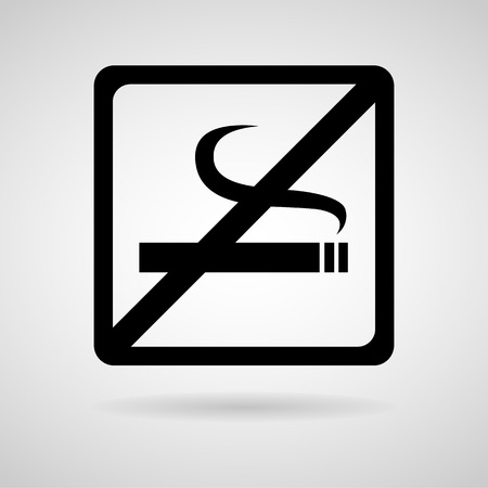 smoldering cigarette: Vector no smoking sign, Illustration