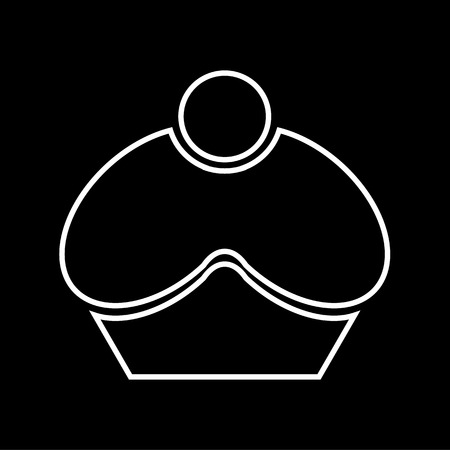 cupcake illustration: Vector black and white cupcake icon, Illustration EPS10