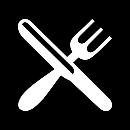 kitchen studio: Vector crossed fork over knife icon, Illustration EPS10