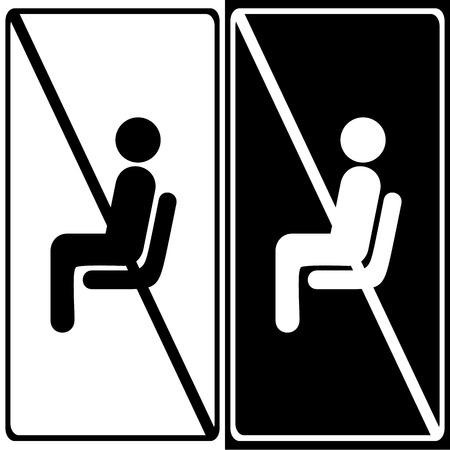danger do not cross: Vector no sitting sign and symbol, Illustration EPS10