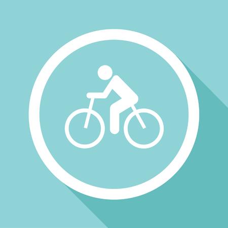 Vector ciclismo su strada. Icona della bicicletta piatta o segno, illustrazione EPS10 Archivio Fotografico - 44904543