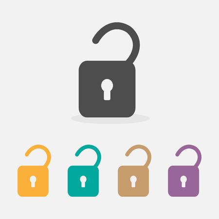 Vector unlock icon. Flat design style, Illustration