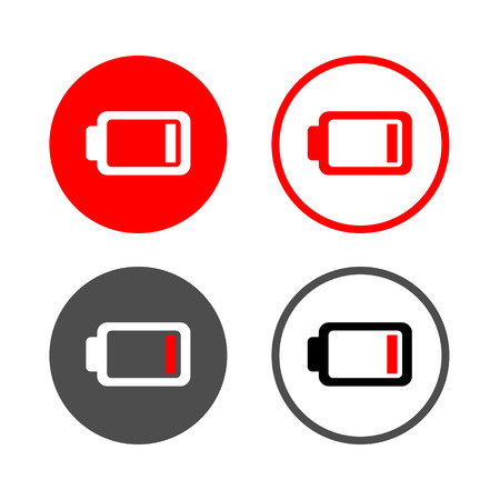 low battery: Vector low battery icon, Illustration