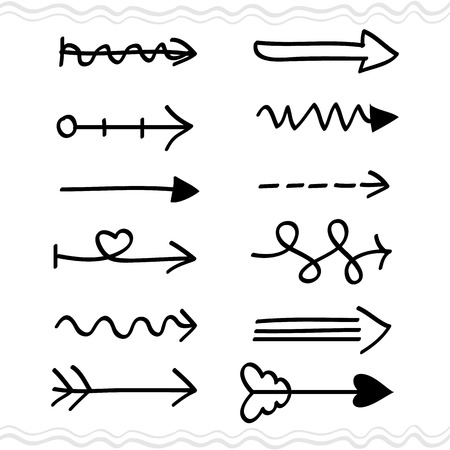 indentation: hand drawing arrows set, Illustration.