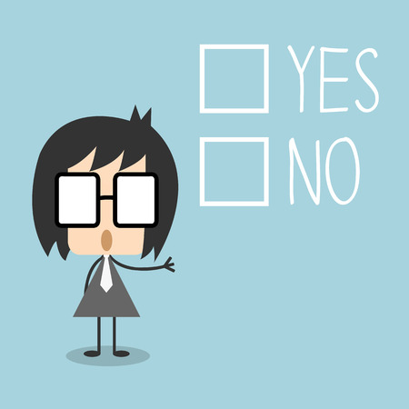 to decide: businessman has to decide yes or no, Illustration